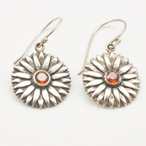 Sterling Silver Daisy with Faceted Garnet Earrings