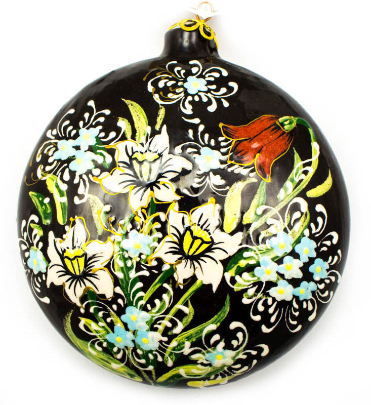 Country Flowers Large Round Ceramic Ornament