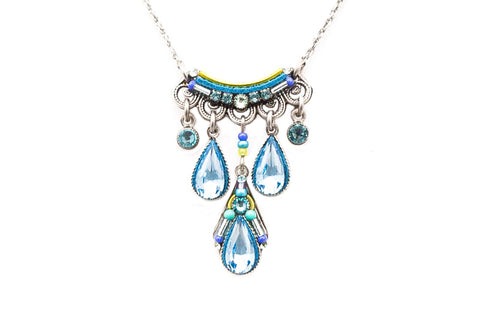 Aquamarine Camelia Three Drop Necklace by Firefly Jewelry