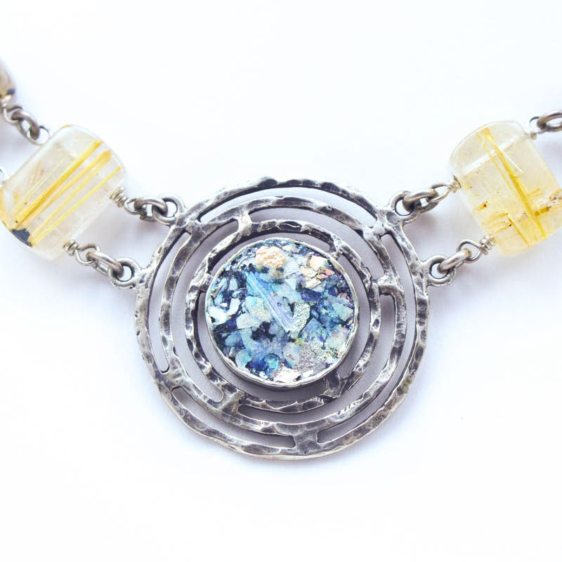 Gold Quartz Chain with Round Roman Glass Necklace