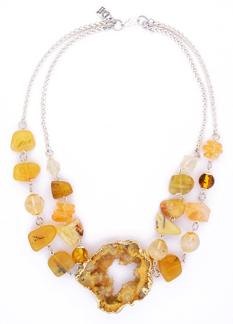 Golden Druzy Agate Double Stranded Necklace by Desert Heart