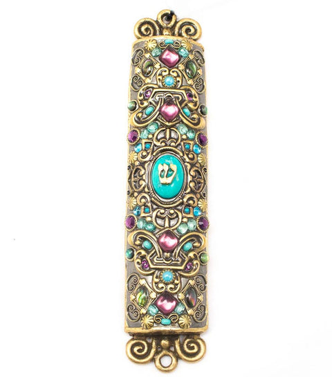 Gold with Purple Oval Turquoise Stone Mezuzah by Michal Golan