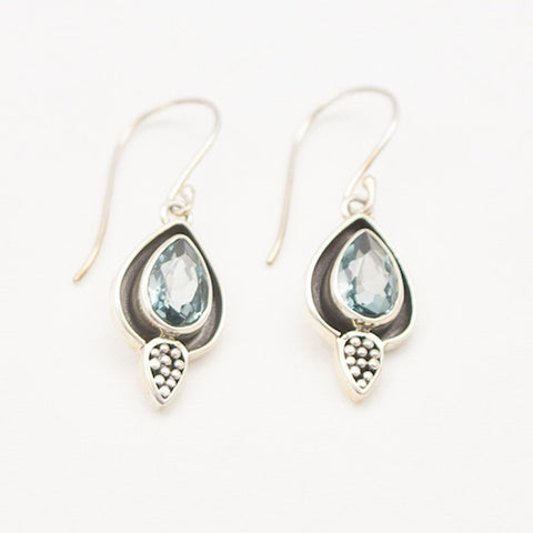 Sterling Silver Faceted Blue Topaz Teardrop with Dot Detail Dangle Earrings