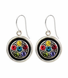 Multi Color Circle Crystal Earrings by Firefly Jewelry