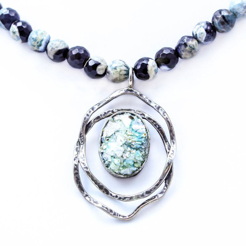 Agate Bead Chain with Open Circles Roman Glass Necklace