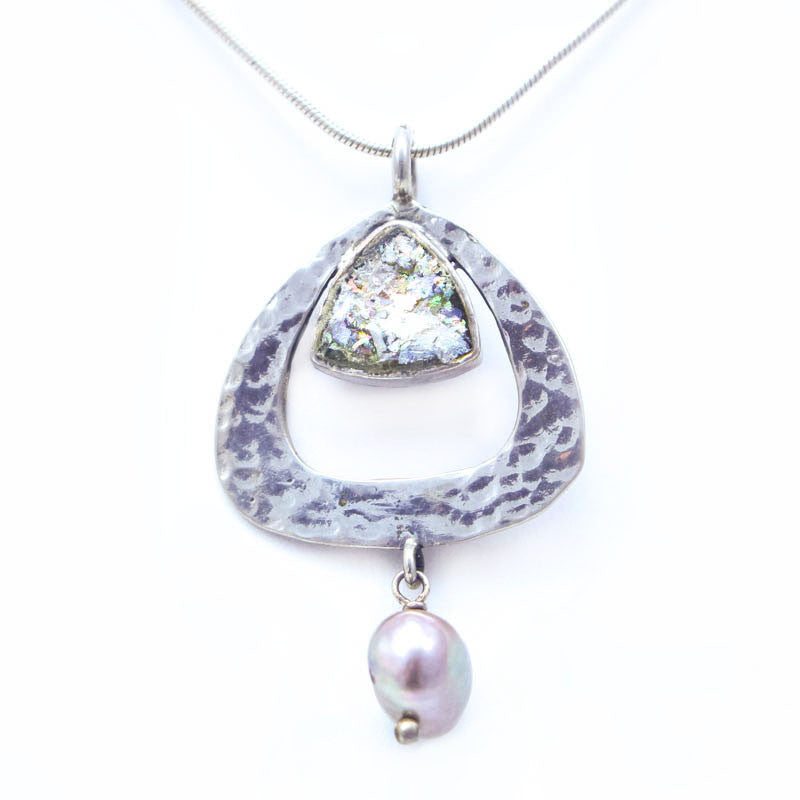Hammered Sterling Silver with Pearl Dangle and Roman Glass Necklace