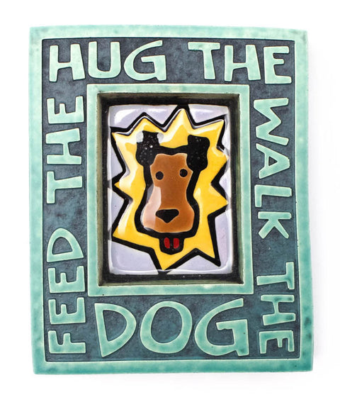 Hug the Dog Small Ceramic Tile