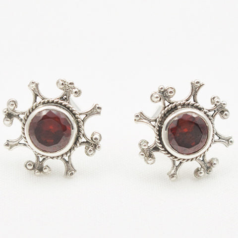 Sterling Silver Ornate Post with Round Faceted Garnet Earrings