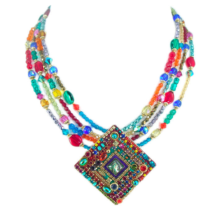 Multi Bright Four Strand Square Necklace by Michal Golan