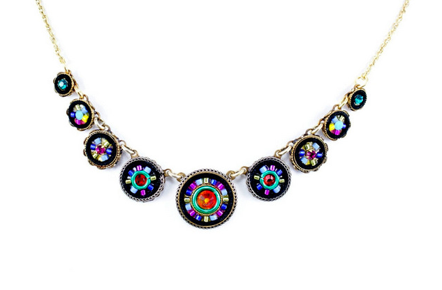 Multi Color Gold La Dolce Vita Circles Necklace by Firefly Jewelry