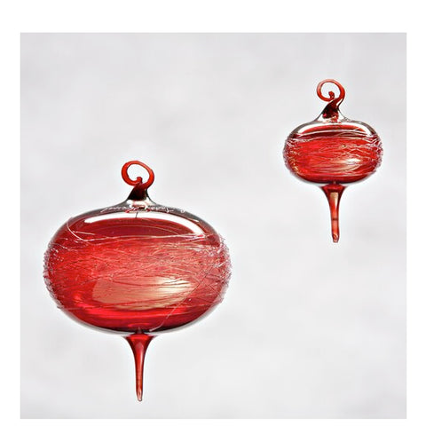 Gold Cranberry Wrap Glass Ornament Large