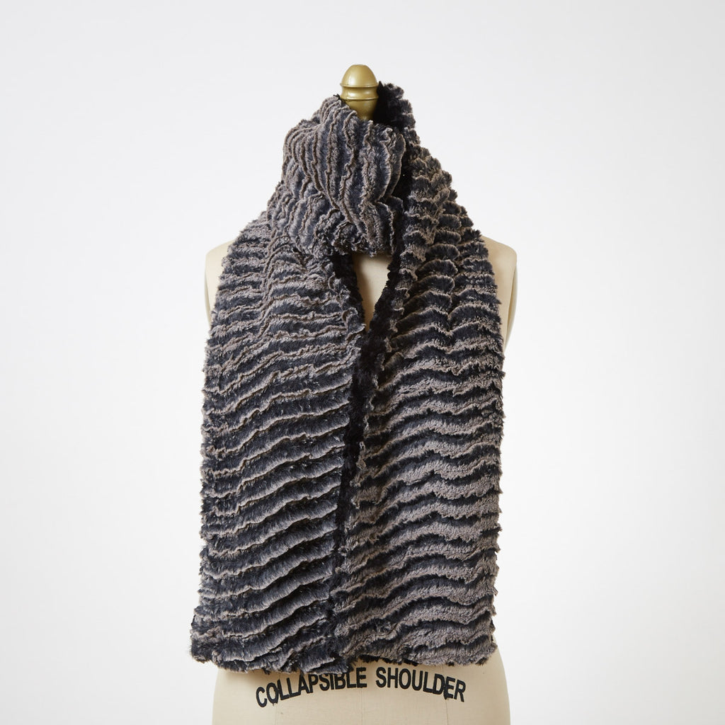 Desert Sand in Charcoal with Cuddly Black Luxury Faux Fur Scarf