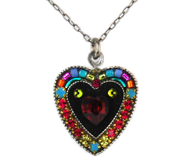 Multi Color Large Red Crystal Heart Pendant by Firefly Jewelry