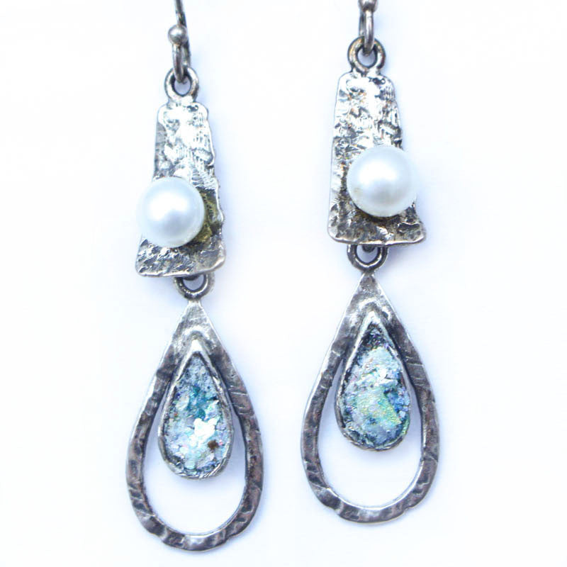 Long Dangle Pearl and Roman Glass Earrings