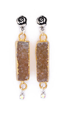 Soft Taupe Druzy Quartz Rectangle on Rose Post Earrings by Desert Heart
