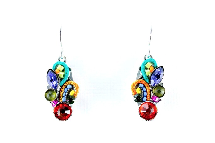 Multi Color Fleur Mosiac Tear Drop Earrings by Firefly Jewelry