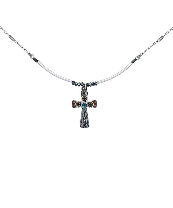 Black and Blue Small Cross Necklace by Ayala Bar