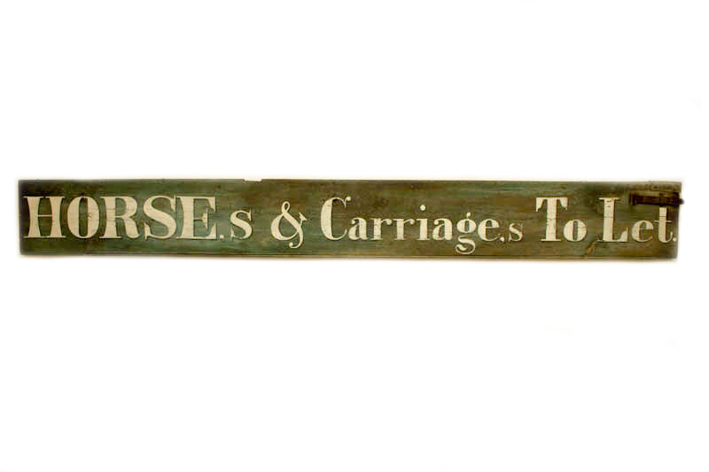 Horses & Carriages to Let, White Letters Americana Art
