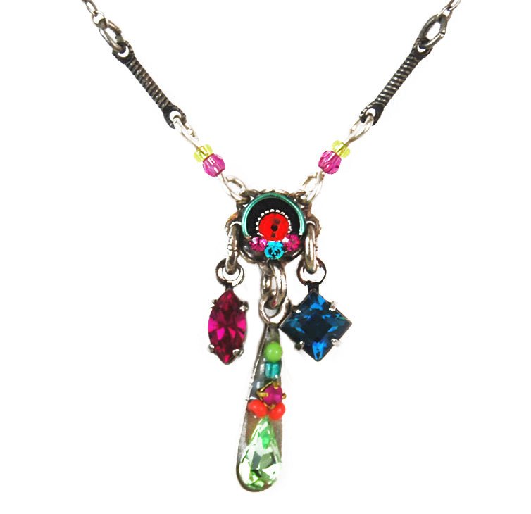 Multi Color Mini Delicate Roulette Mosaic with Dangle Necklace by Firefly Jewelry