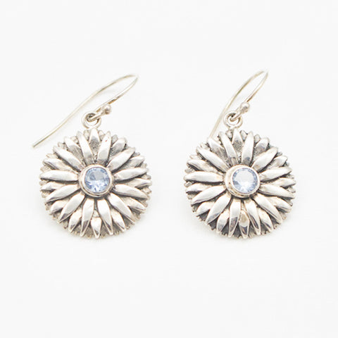 Sterling Silver Daisy with Blue Topaz Earrings