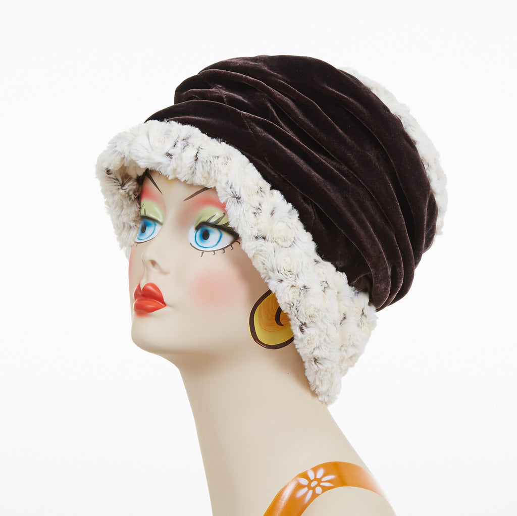 Rosebud In Brown with Chocolate Velvet Luxury Faux Fur Ana Cloche Style Hat