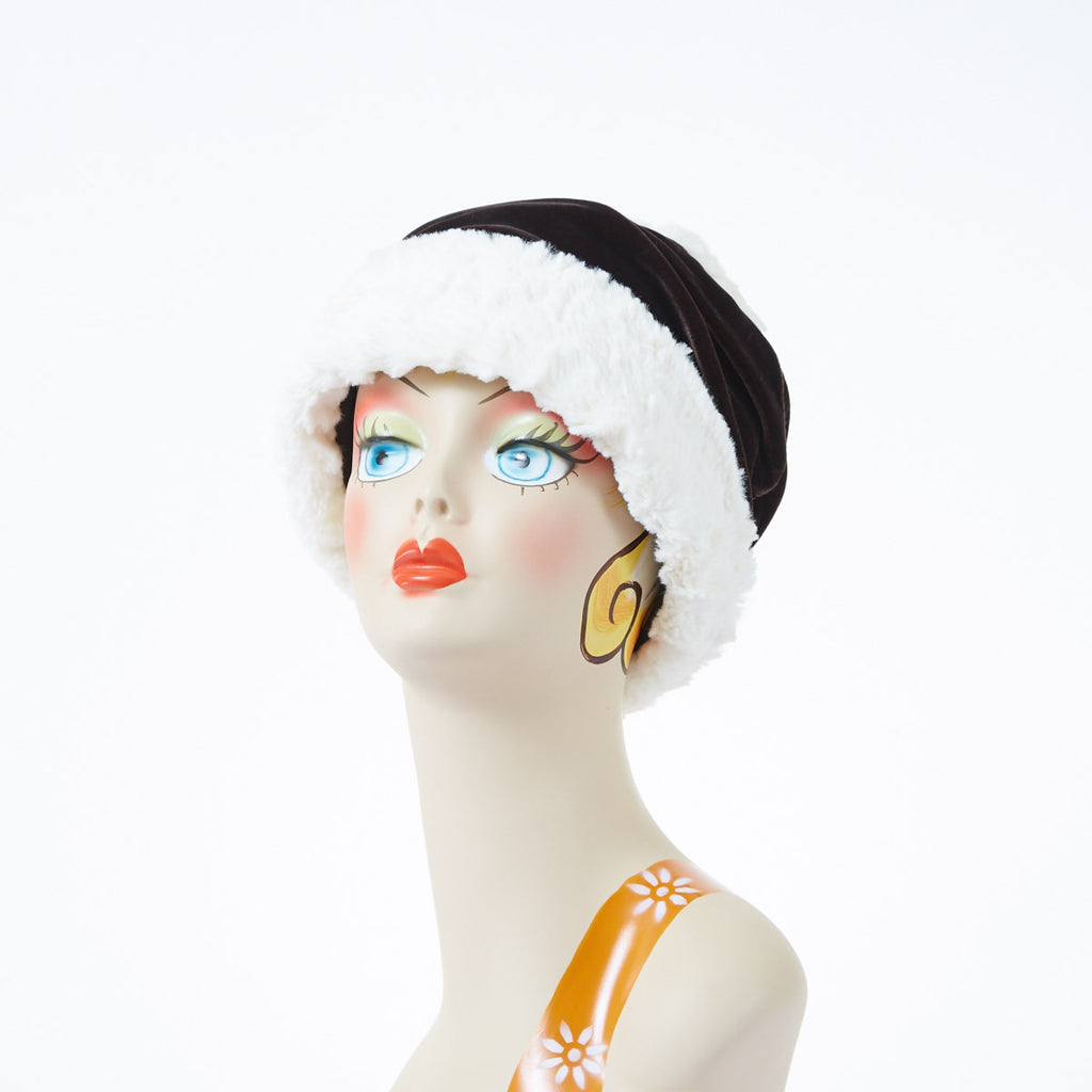 Pearl with Chocolate Velvet Luxury Faux Fur Ana Cloche Hat