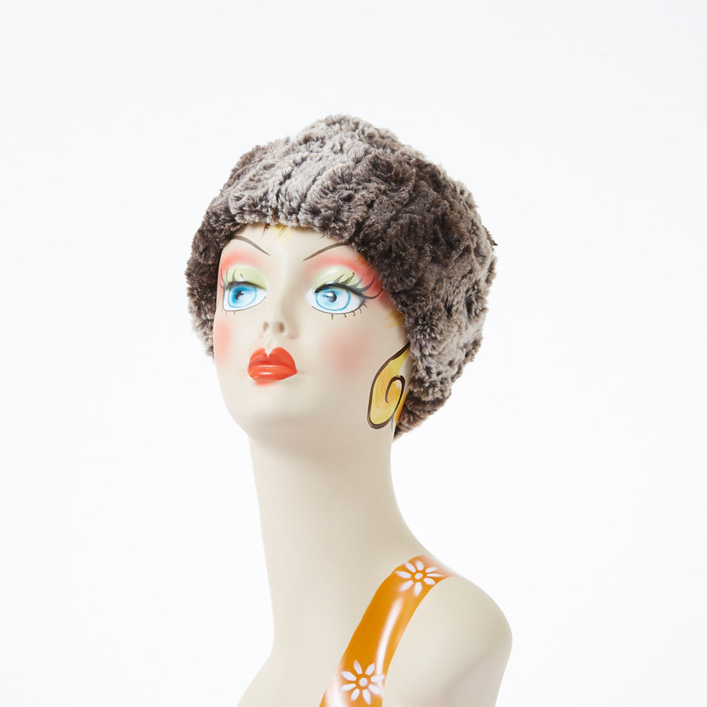 Chinchilla in Brown Luxury Faux Fur Cuffed Pillbox Hat