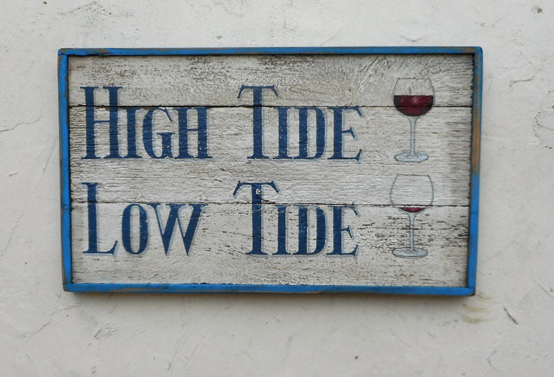 High Tide Low Tide with Wine Glasses (B) Americana Art
