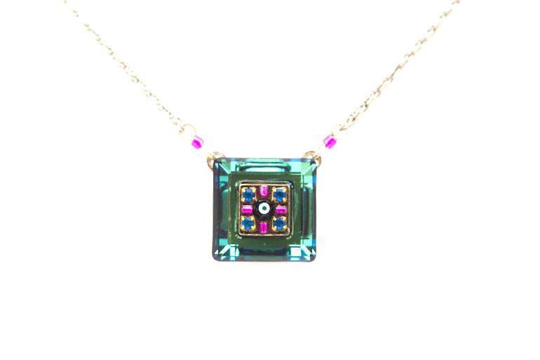Bermuda Blue La Dolce Vita Mosaic Square Pendant Necklace by Firefly Jewelry