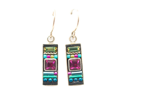 Indicolite La Dolce Vita Rectangle Earrings by Firefly Jewelry