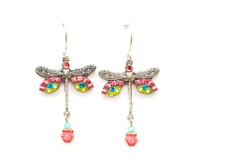 Padparadscha Dragonfly Earrings by Firefly Jewelry