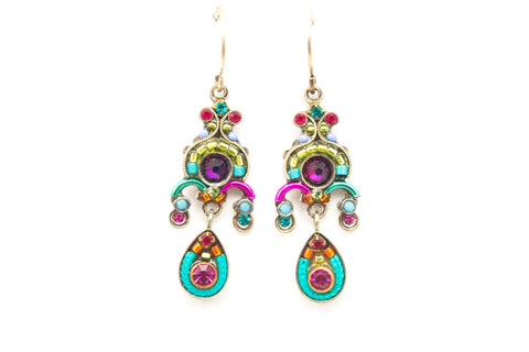 Multi Color Medium Chandelier Drop Earrings by Firefly Jewelry