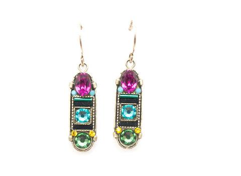 Indicolite La Dolce Vita Oval Mosaic Earrings with Hope and Dream by Firefly Jewelry