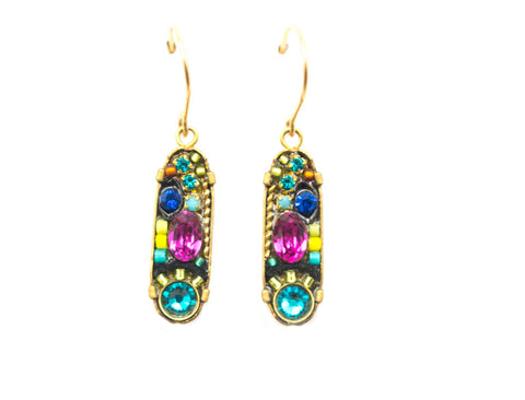 Multi Color La Dolce Vita Gold Oval Mosaic Earrings by Firefly Jewelry