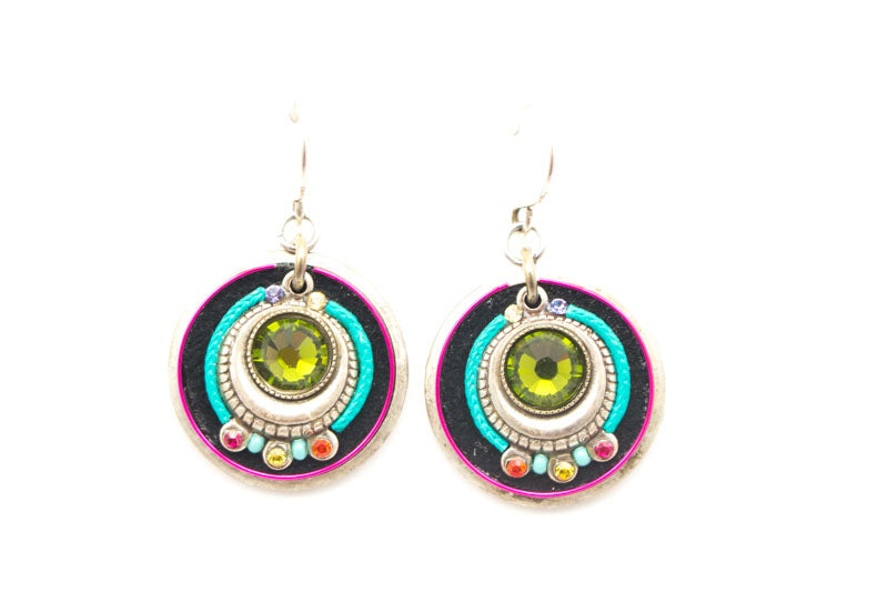 Multi Color Large Circle Earrings by Firefly Jewelry