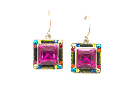 Multi Color Geometric Square Earrings by Firefly Jewelry