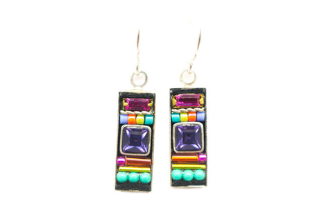 Multi Color La Dolce Vita Rectangle Earrings by Firefly Jewelry