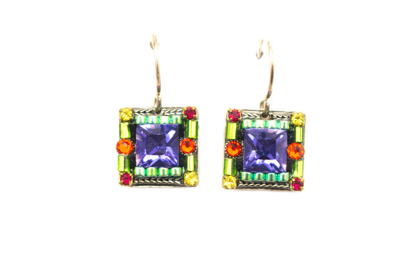 Multi Color Mosaic Square Earrings by Firefly Jewelry