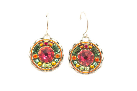 Padparadscha Vintage Round Earrings by Firefly Jewelry