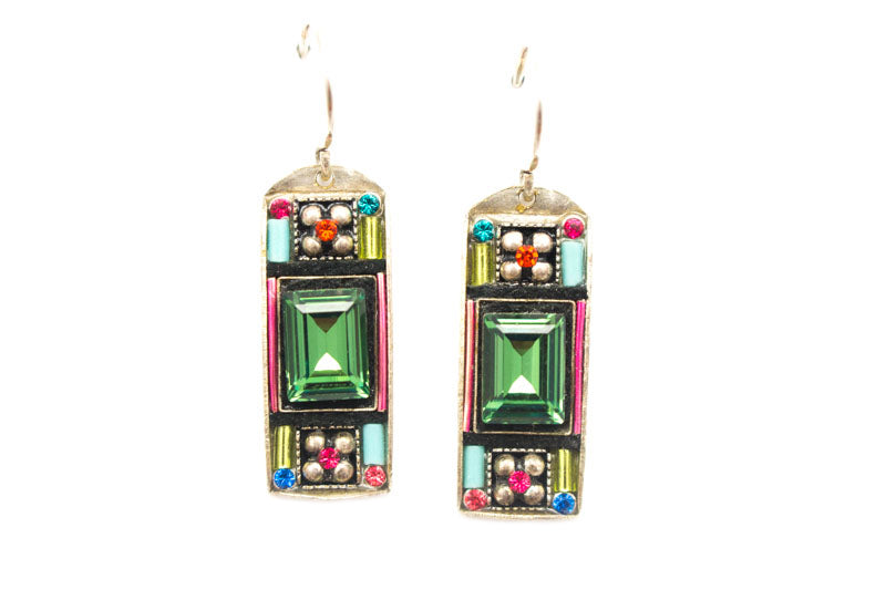Multi Color Baguette Earrings by Firefly Jewelry