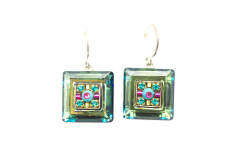 Indicolite La Dolce Vita Crystal Square Earrings by Firefly Jewelry