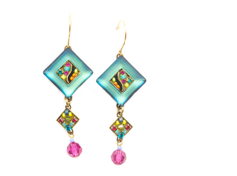 Multi Color Gold La Dolce Vita Crystal Diagonal Earrings with Dangle by Firefly Jewelry