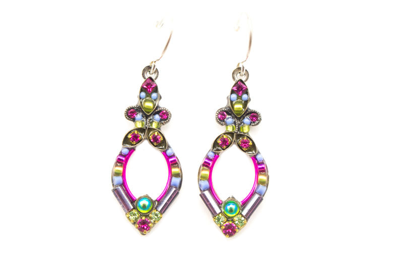 Fuschia Mosaic Earrings by Firefly Jewelry