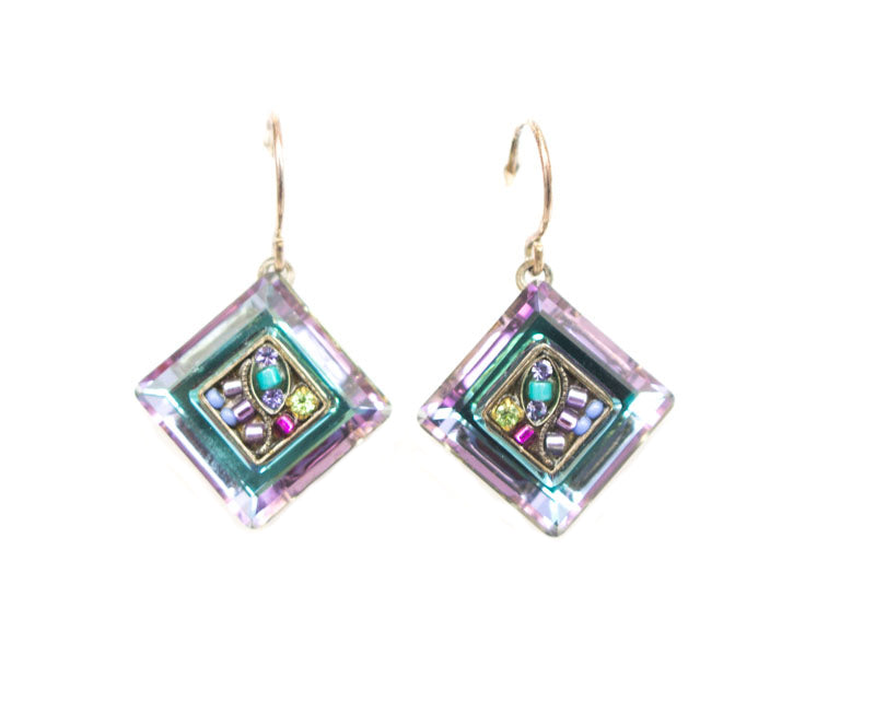 Amethyst La Dolce Vita Crystal Diagonal Earrings by Firefly Jewelry