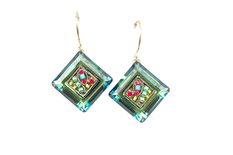 Indicolite La Dolce Vita Crystal Diagonal Earrings with Dangle by Firefly Jewelry