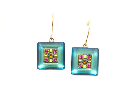 Multi Color Gold La Dolce Vita Crystal Square Earrings by Firefly Jewelry