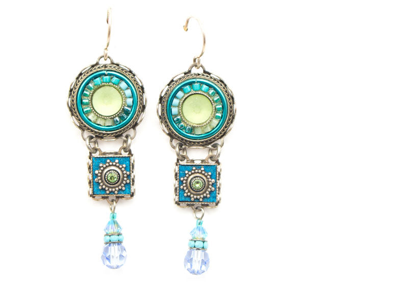 Light Blue La Dolce Vita 3-Tier Earrings by Firefly Jewelry