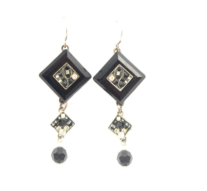 Black and White La Dolce Vita Crystal Diagonal Earrings with Dangle by Firefly Jewelry