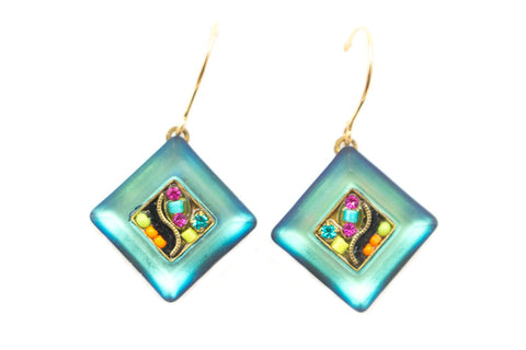 Multi Color Gold La Dolce Vita Crystal Diagonal Earrings by Firefly Jewelry
