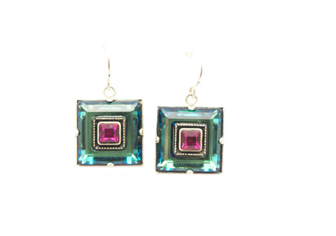Multi Color Architect Square Earrings by Firefly Jewelry